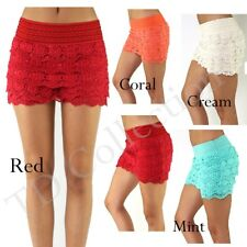 Tiered Crochet LACE SKORT SHORTS Micro Mini Skirt Look Trouser Short Pants