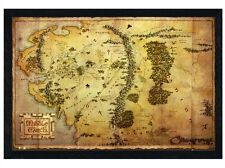 New Black Wooden Framed The Hobbit Map of Middle Earth Poster