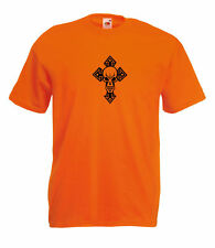 GOTHIC SKULL AND CELTIC CROSS DESIGN GRAPHIC HIGH QUALITY 100% COTTON T SHIRT