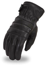 Mens High Performance Insulated Touring Black Leather Motorcycle Riding Gloves