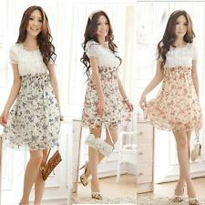 Womens Floral Tunic Short Sleeve Casual Chiffon Elastic Waist Mini Dress