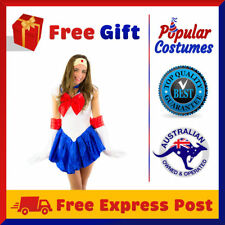 NEW Sailor Moon Costume Uniform Fancy Dress Up Sailormoon Party Outfit + Gloves