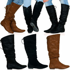 Martha Womens Flat Lace Detail Mid Calf Slouch Boots Zip Up Ladies Shoes D2Y