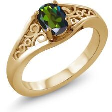 0.95 Ct Oval Forest Green Mystic Topaz 18K Yellow Gold Ring