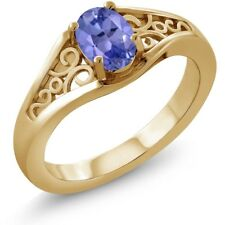 0.75 Ct Oval Blue Tanzanite 18K Yellow Gold Ring