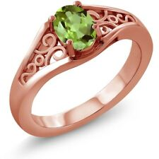0.80 Ct Oval Green Peridot 925 Rose Gold Plated Silver Ring