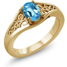 0.80 Ct Oval Swiss Blue Topaz 14K Yellow Gold Ring