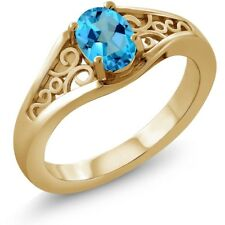 1.00 Ct Oval American Blue Mystic Topaz 18K Yellow Gold Ring