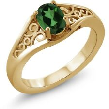 0.90 Ct Oval Emerald Envy Mystic Topaz 14K Yellow Gold Ring