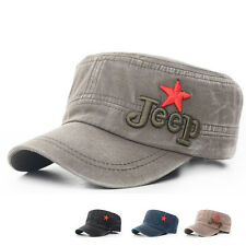 New Vintage Man's Classic Army Style Cadet Military Flat Top Caps Embroidery Hat