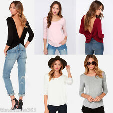 Women T-Shirt Long Sleeved Ruched Wrap Draped V-back Sexy Backless Blouse Top