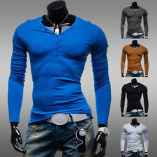Stylish Men's Shirts Slim Fit Long Sleeve V Neck Casual Basic Tee T-Shirt Tops ❤
