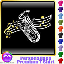 Euphonium Curved Stave - Personalised Music T Shirt 5yrs - 6XL by MusicaliTee
