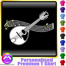 Mandolin Curved Stave - Personalised Music T Shirt 5yrs - 6XL by MusicaliTee