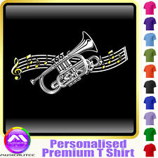Cornet Curved Stave - Personalised Music T Shirt 5yrs-6XL MusicaliTee 2