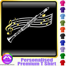 Clarinet Curved Stave - Personalised Music T Shirt 5yrs - 6XL by MusicaliTee