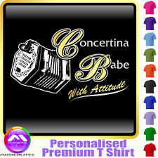 Concertina Babe With Attitude - Custom Music T Shirt 5yrs - 6XL by MusicaliTee