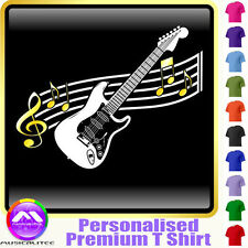 Electric Guitar Curved Stave - Custom Music T Shirt 5yrs-6XL MusicaliTee 2