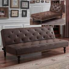 Vintage Victorian Antique Brown Faux Suede Leather Chaise Longue or Sofa Bed New