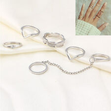 Womens Popular Punk Leaf Knuckle Midi Mid Finger Tip Stacking Chain Rings Set