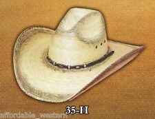 "COWBOY HAT ~Burnt Toast PALM LEAF Straw~ 4"" Brim - Modified GUS CROWN Rodeo"