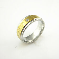 316L Stainless Steel Crystal Gold Great Wall Pattern Ring Women&Men's Finger