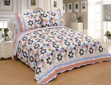 3Pcs Garden Flowers Twin Queen King Full Bedspread Quilt Set Coverlet /Shams