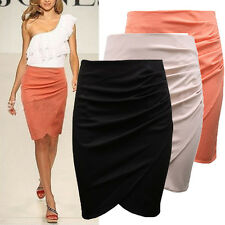 Womens Asymmetric Pencil Bandage High Waisted Bodycon Ladies Wrapped Short Skirt