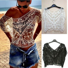 Sexy Women Vintage Lace Hollow Crochet Floral Loose Batwing Blouse Cover Up Tops