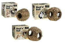 SMALL N FURRY RABBIT MOUSE RAT NATURAL NEST N BALL GRASS CAGE HUTCH HIDE 3 SIZES