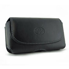 """Leather Carrying Case Cover Side Pouch Phone Holster Clip with 2"""" Belt Loops"""