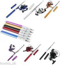 Mini Portable Pocket Camping Travel Pen Shape Fishing Rod Pole Reel Aluminum