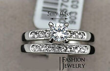 White Gold & Diamond Solitaire Bridal Engagement ring Wedding band set duo