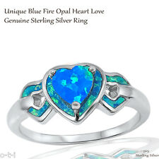 Heart Love Blue Fire Opal Wedding Engagement Blue Opal Sterling Silver Ring