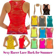 Lace Back Racer Ribbed Floral Womens Sexy Tank Top - USA Seller!! Shirt TEE Cami