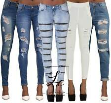 NEW SEXY WOMEN LADIES BLUE RIPPED SKINNY JEANS PANTS UK SIZE 6-14