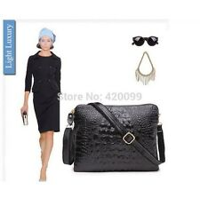 Women Genuine Leather Shoulder Bag Lady Vintage Handbag Crocodile Clutch