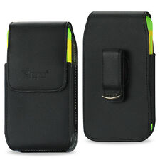 REIKO Vertical Leather Carrying Case Pouch Cover Holster Swivel Belt Clip