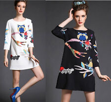 New Spring Summer Plus Size Casual Womens Girls Lax Loose Owl Tree Printed Dress