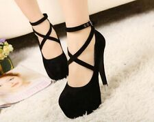 Hot!Sexy Lady's Platform Pumps Strappy Buckle Stiletto High Heels Ankle Shoes P7
