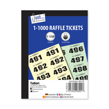 1000 Raffle Tickets Books Cloakroom Clock Room Security Coded Prize - 8001