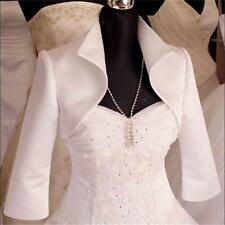 New Women Ivory /White  Wedding/Prom Satin Bolero Shrug Jacket S M L XL XXL