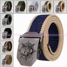 Mens Canvas Belt Casual Alloy Skull Buckle Sport Handmade Belts Dress Waistband