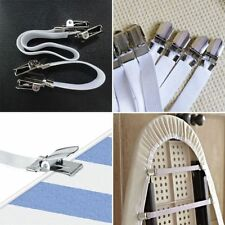 4 Chrome Metal Bed Sheet Fasteners Clip Grippers Mattress Strong Elastic Holder