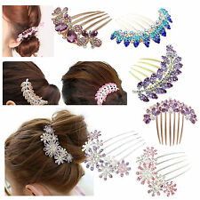 Lovely Vintage Full Rhinestone Flower/ Leaves/Butterfly Hair Combs Clips