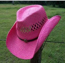 New Summit Hats SEXY PINK Womens Raffia Shapeable Beach Straw Western Cowboy Hat