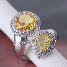 Sz6-Sz10! Promising jewelry! 18k white gold filled yellow Swarovski Crystal ring