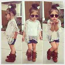 New Baby Girls Clothing Set Lace Top White T-Shirt+Vest+ Denim shorts 3 Pcs/Suit