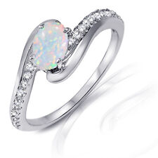 Elegant Oval Cut White Fire Opal White Sapphire CZ Genuine Sterling Silver Ring