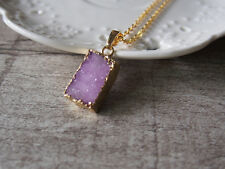 Druzy Drusy Golden Pink Gemstione Raw Rough Square Gem Pendant Necklace